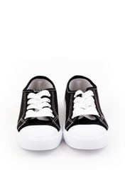 Classic Black Shoes Sneakers on a White Background