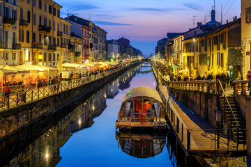 Milan city, Italy, Naviglo Grande canal in the late evening