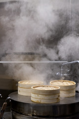 Bamboo Steamers in kitchen