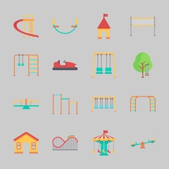 Printed kitchen splashbacks Cartoon cars Icons about Amusement Park with climbing, horizontal bar, fun, carrousel, swings and climb