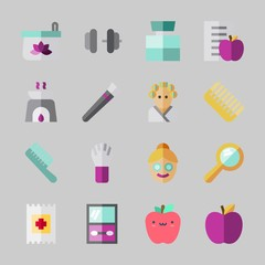 Icons about Beauty with dumbbell, aromatherapy, diet, eye shadow, cologne and face