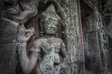 Siem Reap Angkor Wat apsara dancer ancient stone carving on wall and pillar