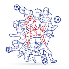 Soccer player team composition outline  graphic vector.