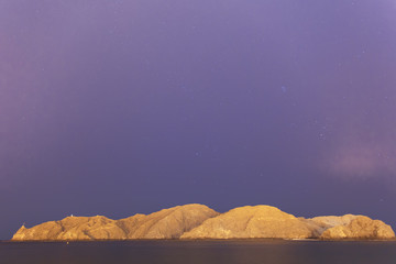 Astrophotography mountains and sea