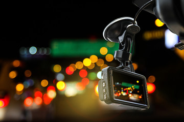 CCTV car camera for safety on the road accident at night time.