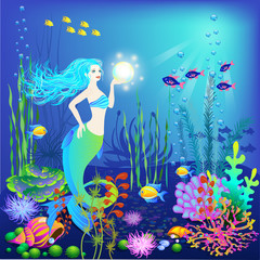 Underwater world, little mermaid, fishes, sea plants and a pearl