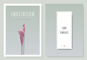 Pink lilies flower, minimal invitation card template design