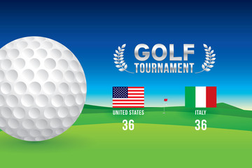 Vector of golf tournament with scoreboard.
