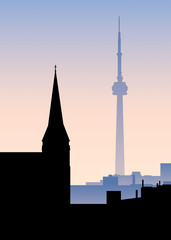 Skyline silhouette illustration of contrasting towers in the city of Toronto, Ontario, Canada.