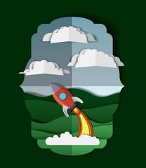 landscape with rocket launcher craft vector illustration design