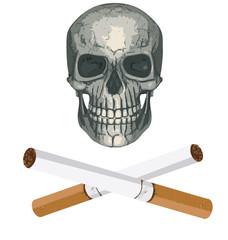 Genial vector de calavera pirata con cigarros de huesos