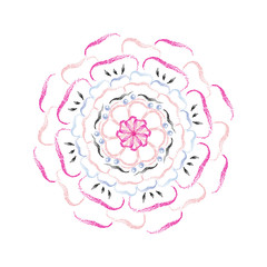 Abstract colorful flower mandala pattern with pencil brush style, vector design