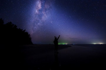 milkyway galaxy rise above lone tree at Kudat, Sabah Malaysia. Image contain soft focus, blur and noise due to long expose and high iso. Long expose and high iso setting need in night photo.