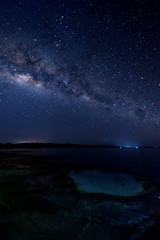 Starry night sky with milkyway galaxy. Image suitable for background. Image contain soft focus, blur and noise due to long expose and high iso.