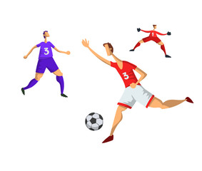 Soccer football players in abstract flat style. Vector illustration, isolated on white background.