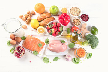 . Balanced diet eating. Natural