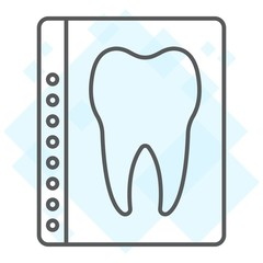 Dental x-ray thin line icon, stomatology and dental, radiology sign vector graphics, a linear pattern on a white background, eps 10.