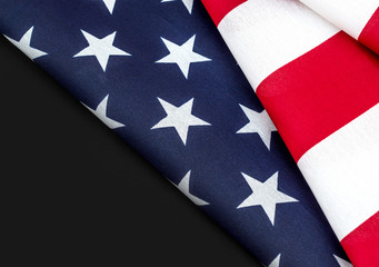 American flag on a black background.