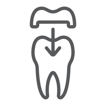Dental crown line icon, stomatology and dental, ceramic tooth sign vector graphics, a linear pattern on a white background, eps 10.