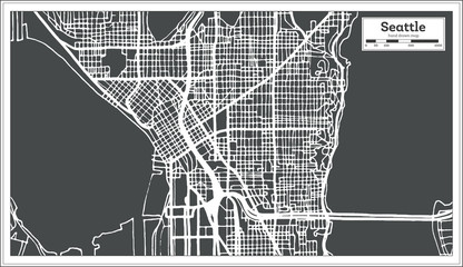 Seattle USA City Map in Retro Style. Outline Map.