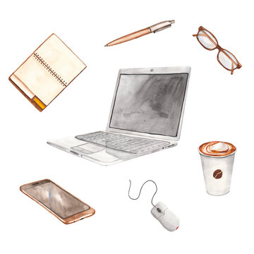 office equipment watercolor, laptop, notebook, pen, glasses, coffee, computer mouse, smartphone