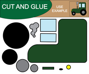 Tractor. Use scissors and glue to create the image of tractor. Paper game for preschool children.
