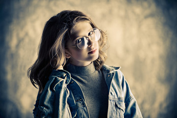 girl wearing spectacles