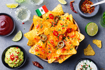 Nachos chips with Mexican flag and dips variety