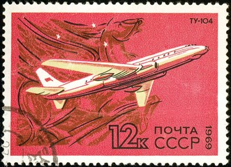 Ukraine - circa 2018: A postage stamp printed in USSR show Aircraft Tupolev Tu-104. 1955. Pegasus. Was a twinjet medium-range narrow-body turbojet-powered Soviet airliner. Circa 1969.