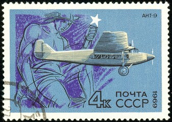 Ukraine - circa 2018: A postage stamp printed in USSR show Aircraft Tupolev Ant-9. Mercury. The Tupolev ANT-9 was a Soviet passenger aircraft of the 1930s. Circa 1969.