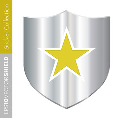 Metal Shield Icon - Gold Star