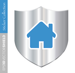 Metal Shield Icon - Home