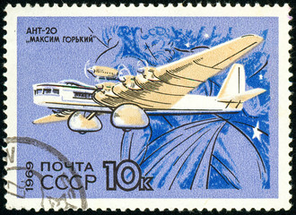 Ukraine - circa 2018: A postage stamp printed in USSR show Aircraft ANT-20 Maksim Gorki. Atalanta. Eight-engine aircraft, the largest of the 1930s. The wingspan of the Boeing 747. Circa 1969.