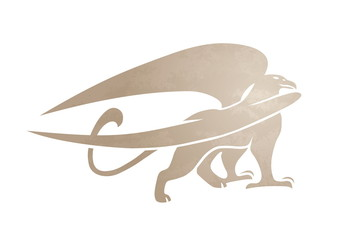 Silhouette of griffin. Vector gryphon. Mythical creature. Isolated on white background.