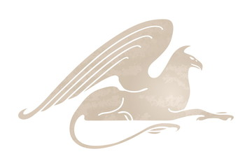 Silhouette of griffin. Stylized gryphon image. Vector mythical creature. Isolated on white background.