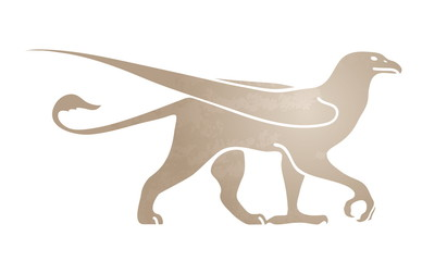 Silhouette of griffin. Stylized image for logo or mascot. Vector illustration of mythical creature.