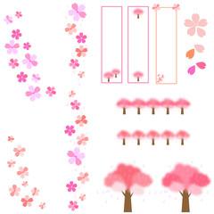 ル桜 さくら サクラ 春 入学 卒業 花 バナー 並木 背景