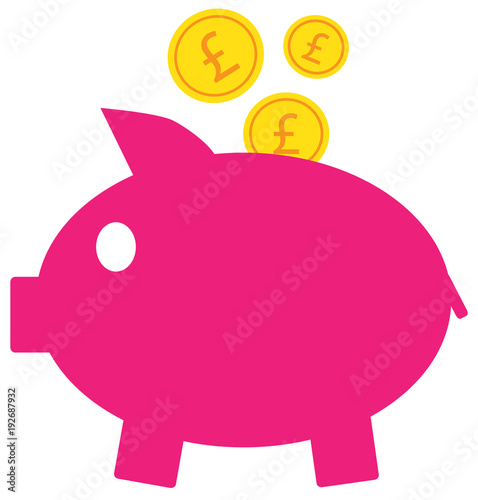 Pound Sterling Currency Icon Or Logo Vector On Coins Entering A