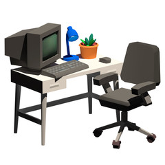 Office work station on isolated white background. Low Poly 3D Illustration