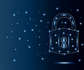 Cyber padlock, polygon, blue, stars 2