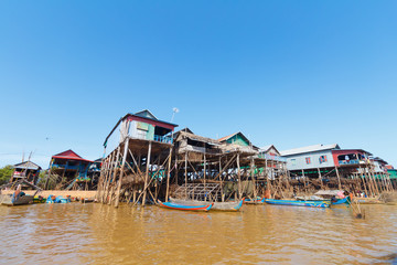 houses at Kampong Phluk in dry season