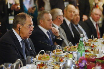 Russian Foreign Minister Lavrov attends a meeting at the Munich Security Conference in Munich