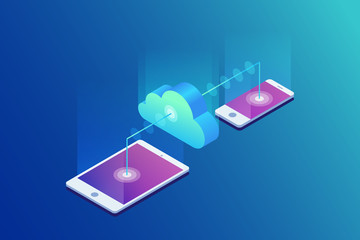 Cloud storage, data transfers on Internet from gadget to gadget. 3d isometric flat design. Vector illustration.