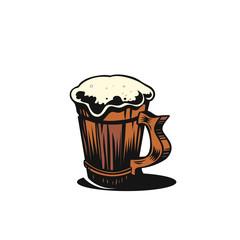 Simple beer mug vector illustration.