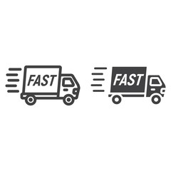 Fast shipping line and glyph icon, logistic and delivery truck, carton box sign vector graphics, a linear pattern on a white background, eps 10.