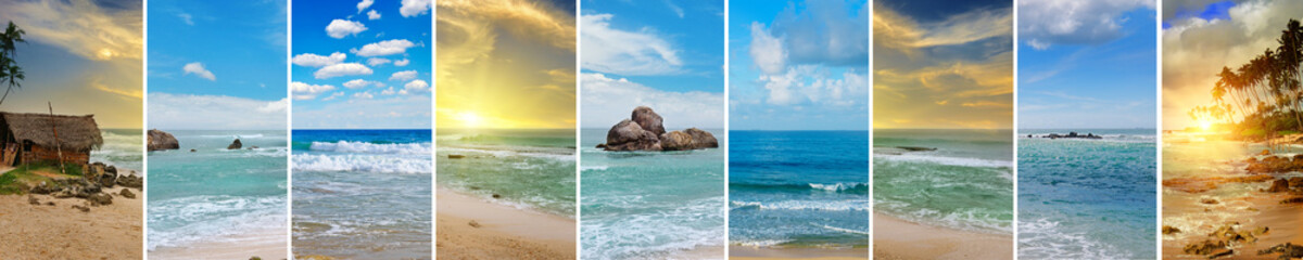 Tropical beaches and beautiful sky. Panoramic collage. Wide photo.