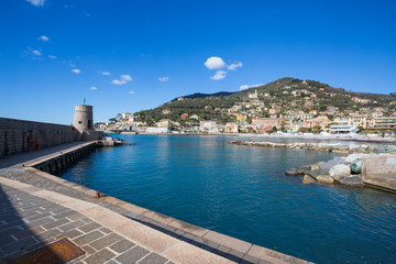 Canvas Prints City on the water RECCO, ITALY, FEBRUARY 13, 2018 - View of city of Recco , Genoa (Genova) Province, Liguria, Mediterranean coast, Italy