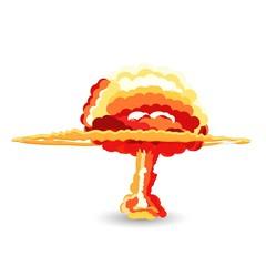 Nuclear explosion. Cartoon vector illustration.