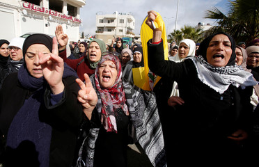 Mourners react during the funeral of Palestinian assailant Hamza Zamarah, in Halhoul, in the occupied West Bank