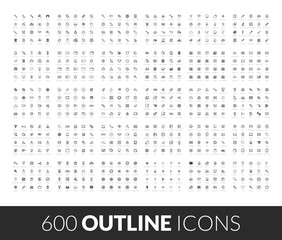 Large icons set, 600 outline black vector pictogram